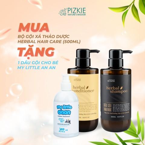 Combo 1 Herbal Shampoo (Dầu gội thảo dược) – 500ml, 1 Herbal Conditioner (Dầu xả thảo dược) – 500ml, 1 Dầu gội cho bé Herbal Shampoo - My little An An
