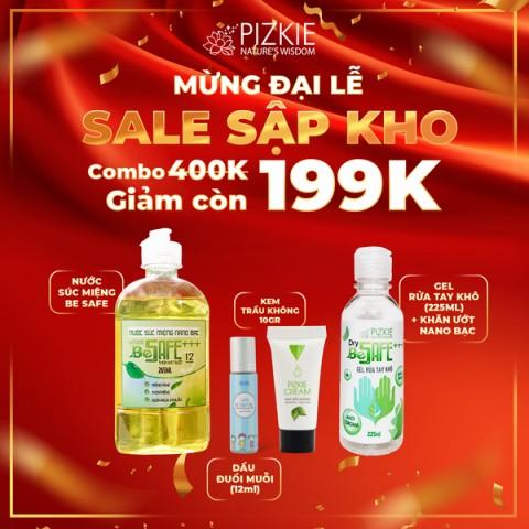 [COMBO 199K] Đuổi muỗi Gaia 10ml + Kem trầu không Pizkie 10gr + 1 Nước súc miệng Nano bạc Be Safe + 01 Rửa tay khô  Be Safe 225ml + Khăn ướt kháng khuẩn Nano Bạc