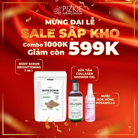 [COMBO 599k] Sữa tắm collagen Pizkie 300ml + Nước hoa dưỡng thể 150ml + Tẩy tế bào chết toàn thân 7in1 Pizkie